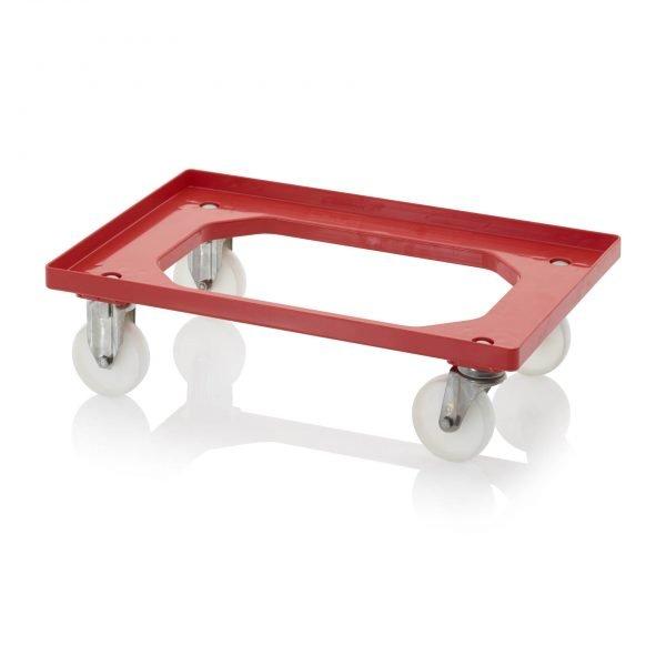 Backvagn med polyamidhjul i rostfritt stål, 620x420 - 2 styrhjul i rostfritt stål, 2 bockhjul i rostfritt stål, rött