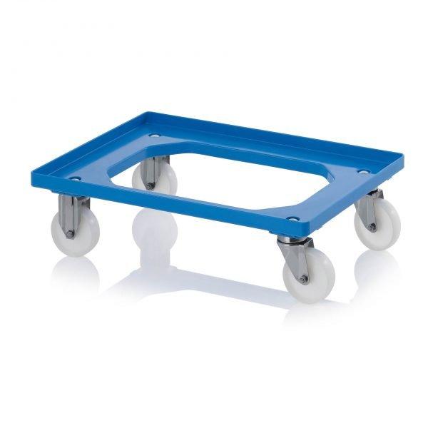 Backvagn med polyamidhjul i rostfritt stål, 620x420 - 2 styrhjul i rostfritt stål, 2 bockhjul i rostfritt stål, blåt