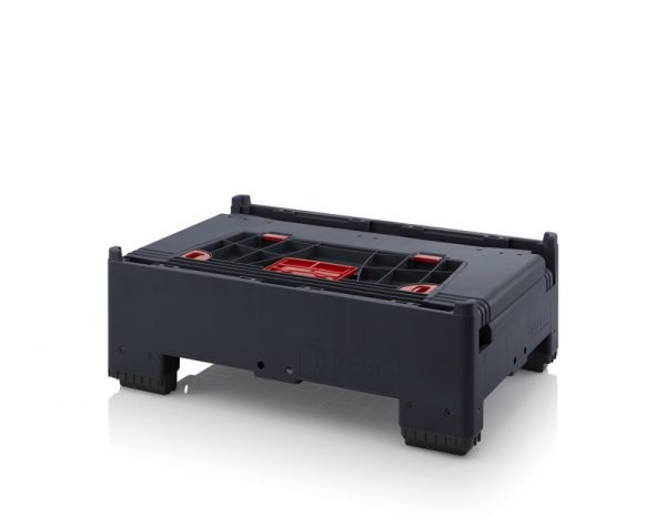 Hopfällbar ESD -big box med 4 packningsluckor, 1200x800x1000