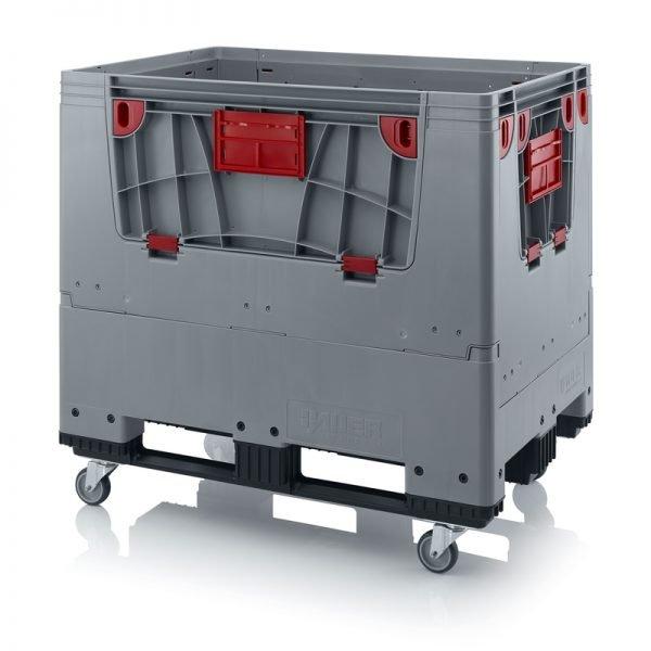 Hopfällbar big box med 4 packningsluckor, 1200x800x1000 - 4 hjul, 3 medar