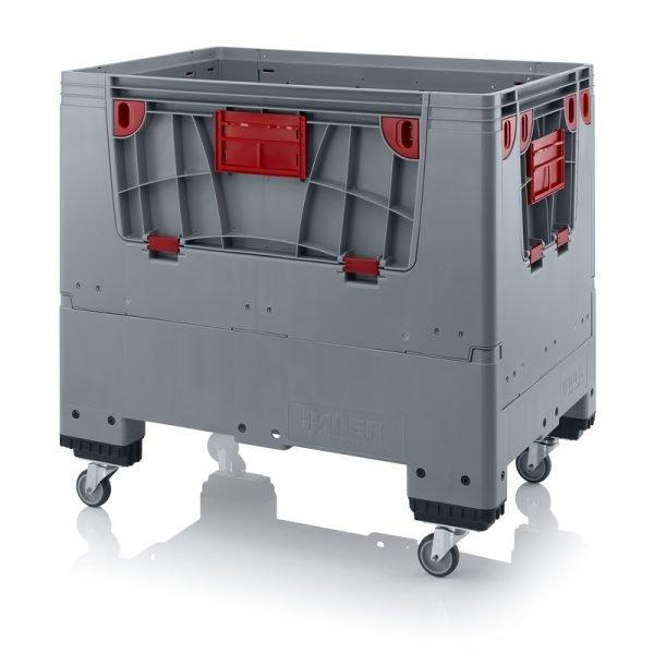 Hopfällbar big box med 4 packningsluckor, 1200x800x1000 - 4 hjul