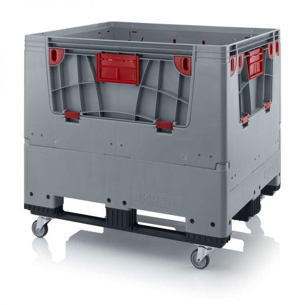 Hopfällbar big box med 4 packningsluckor, 1200x1000x1000 - 4 hjul, 3 medar