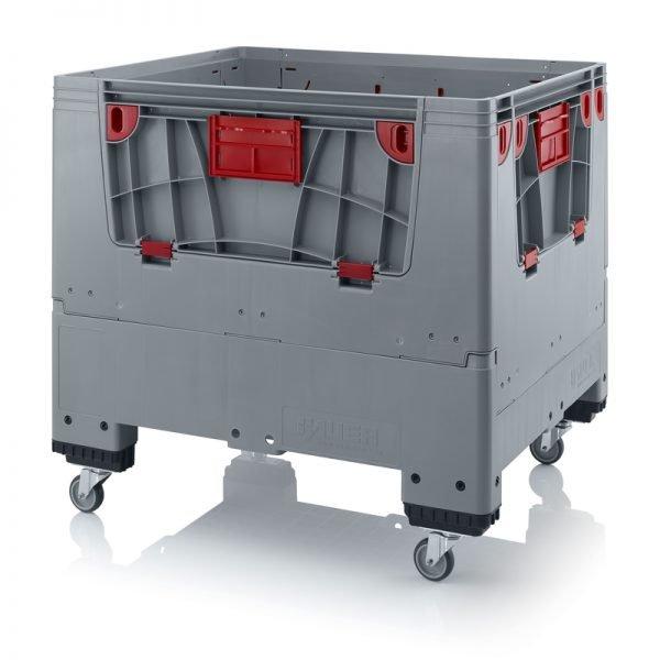 Hopfällbar big box med 4 packningsluckor, 1200x1000x1000 - 4 hjul