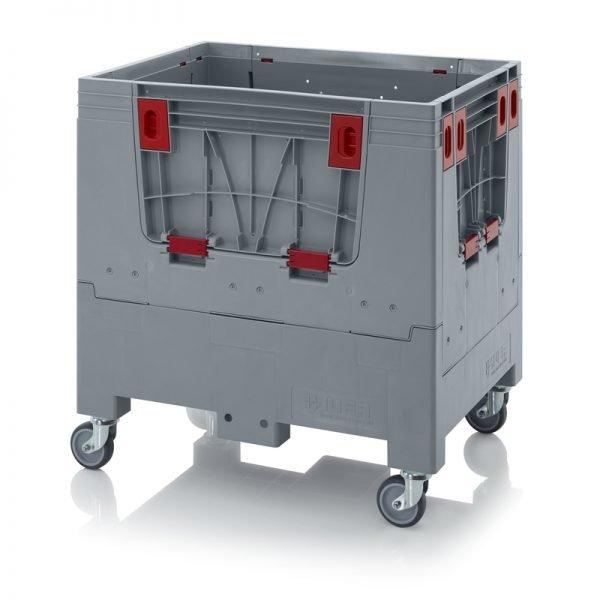 Hopfällbar big box med 4 packningsluckor, 800x600x790 - 4 hjul
