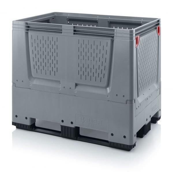 Hopfällbar big box med ventilationskåror, 1200x800x1000 - 4 hjul, 3 medar