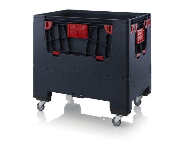 Hopfällbar ESD -big box med 4 packningsluckor, 1200x800x1000 - 4 styrhjul