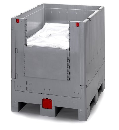 Fällbar IBC med innerpåse (liner) och öppningsbar lucka, 1000 l