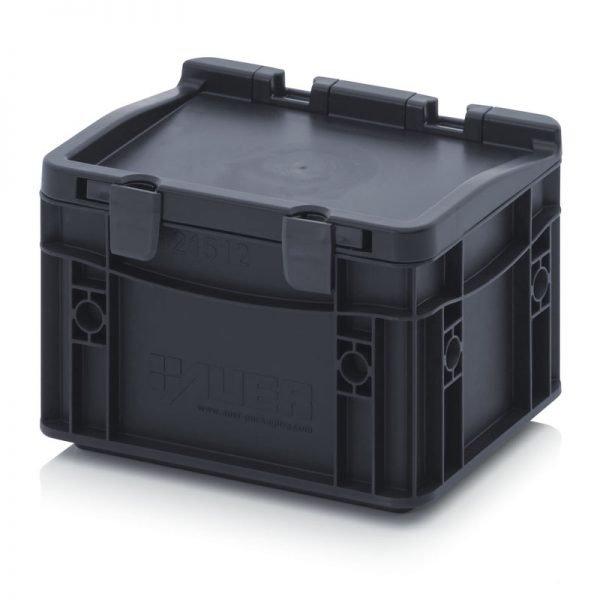 ESD euroback av elektriskt ledande material med gångjärnslock för förvaring och transport av elektroniska artiklar